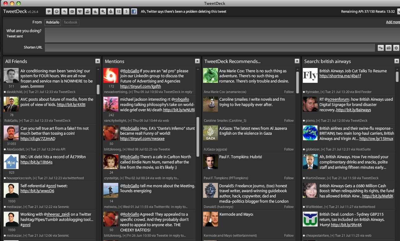 Captura de TweetDeck