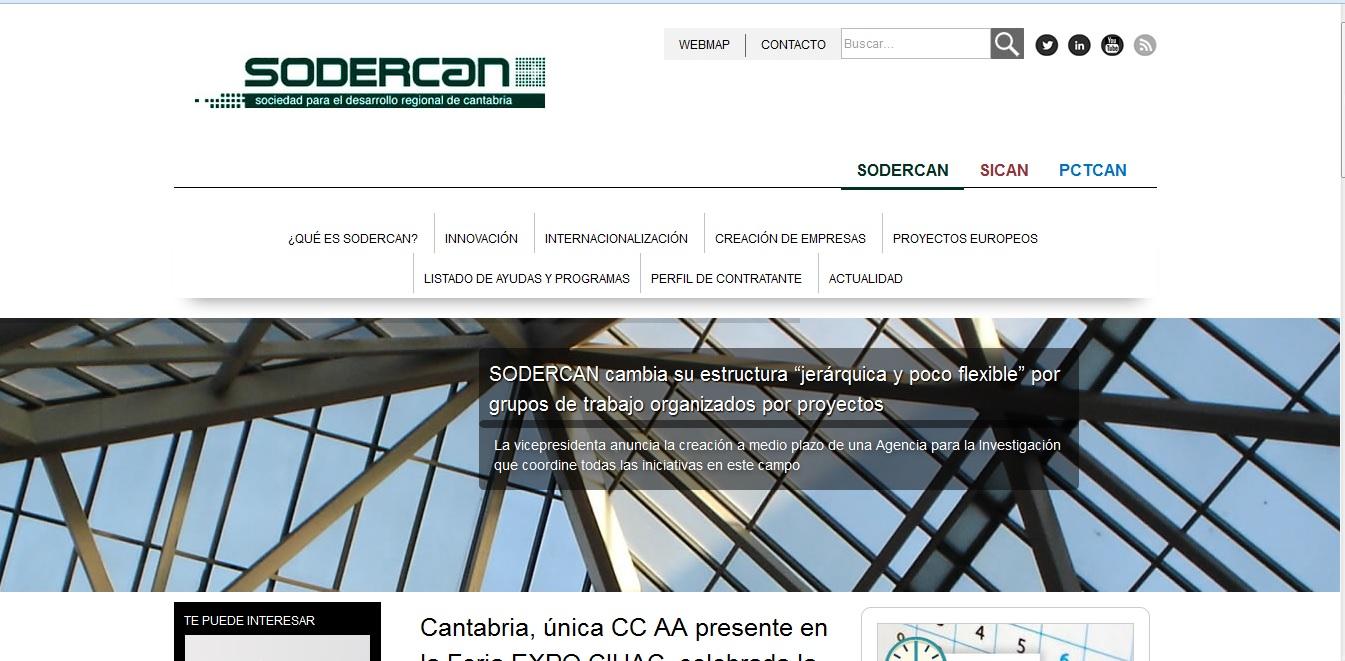 Portal Web SODERCAN, SICAN, PCTCAN